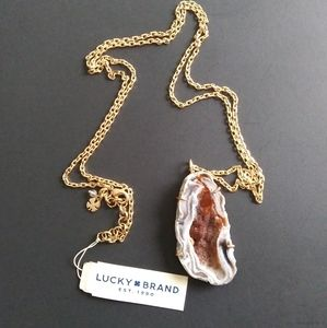 NWT Lucky Brand Chain Slice Geode Necklace
